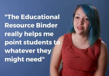 """The Educational Resource Binder really helps me be able to point students to whatever they might need"""