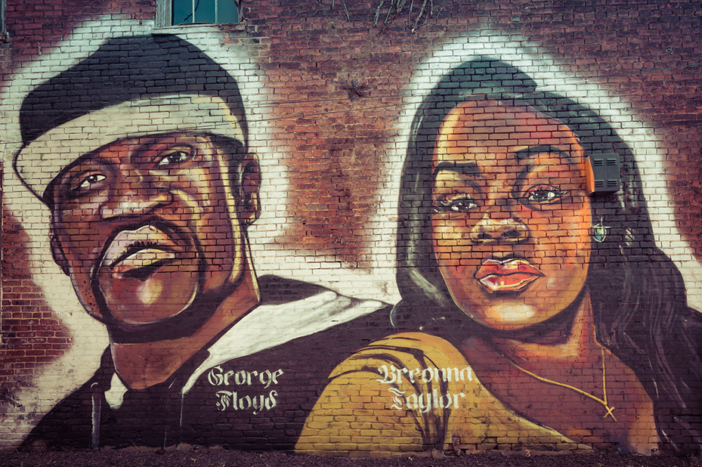 Photo of a mural dedicated to George Floyd and Breonna Taylor.