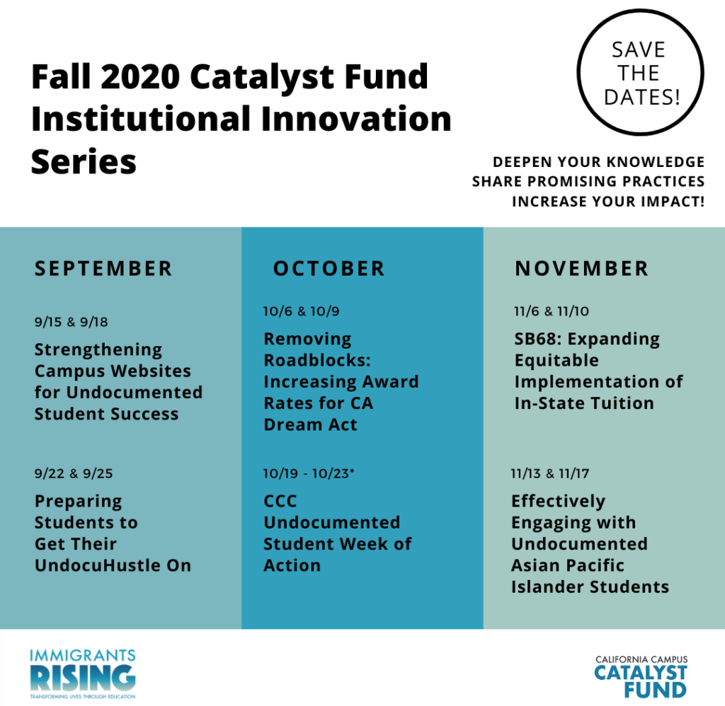 Fall 2020 Catalyst Fund trainings are offered Tuesdays and Fridays from 10 a.m. - 12 p.m.