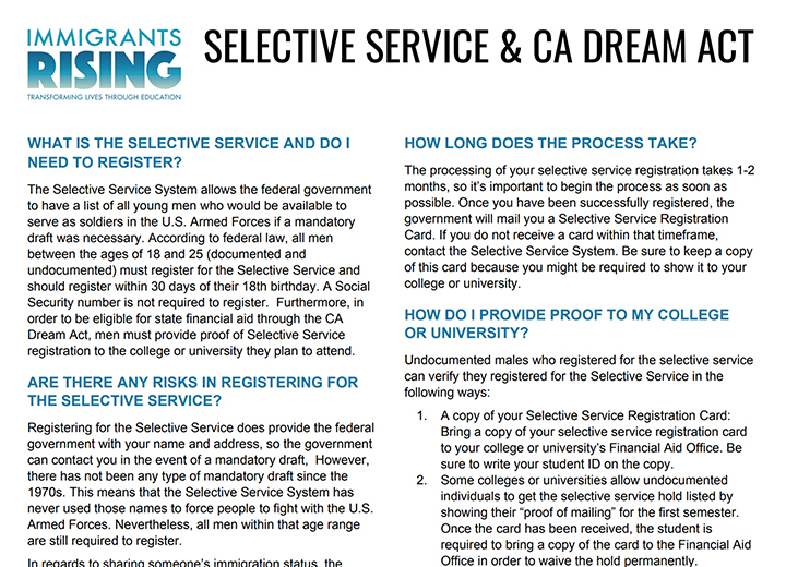Selective Service And Ca Dream Act Immigrants Rising